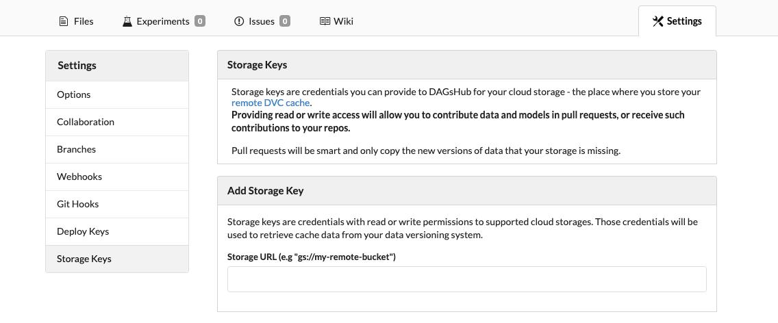 Storage Keys menu on DAGsHub